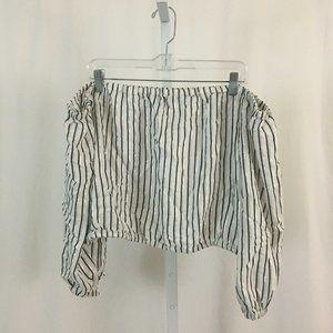 Rachel Rachel Roy NEW White Silver Striped Blouse